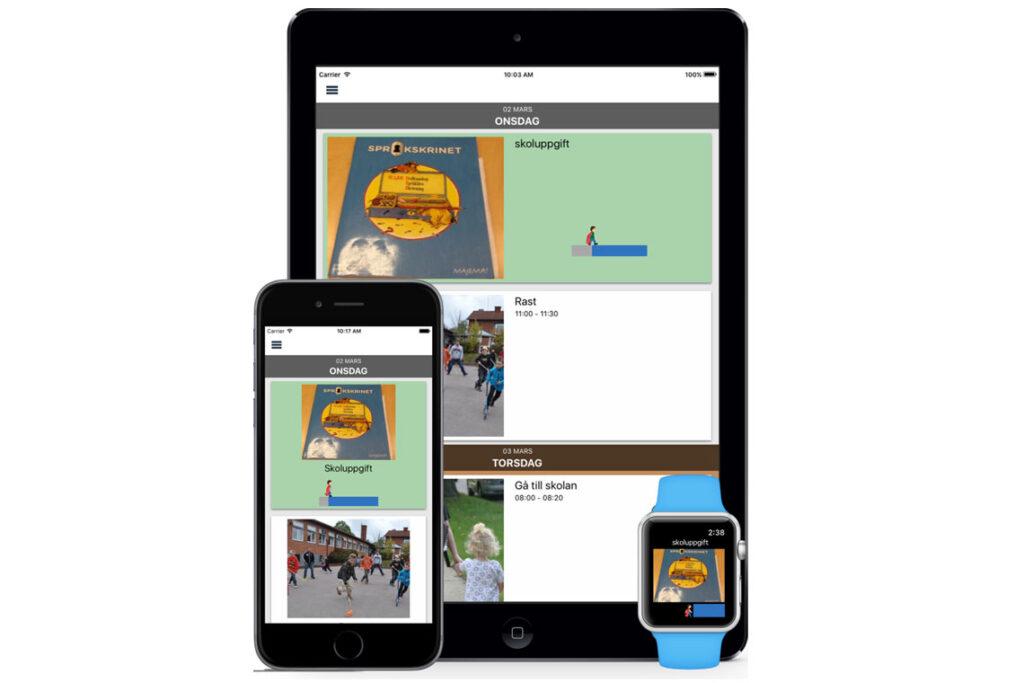 Bild på telefon och surfplatta med Dayscapes gränssnitt på skärmarna
