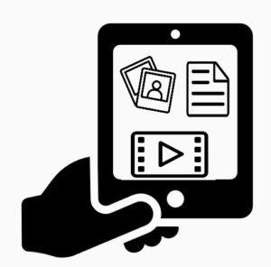 Smart telefon med symboler för dokument, foton och film i skärmen